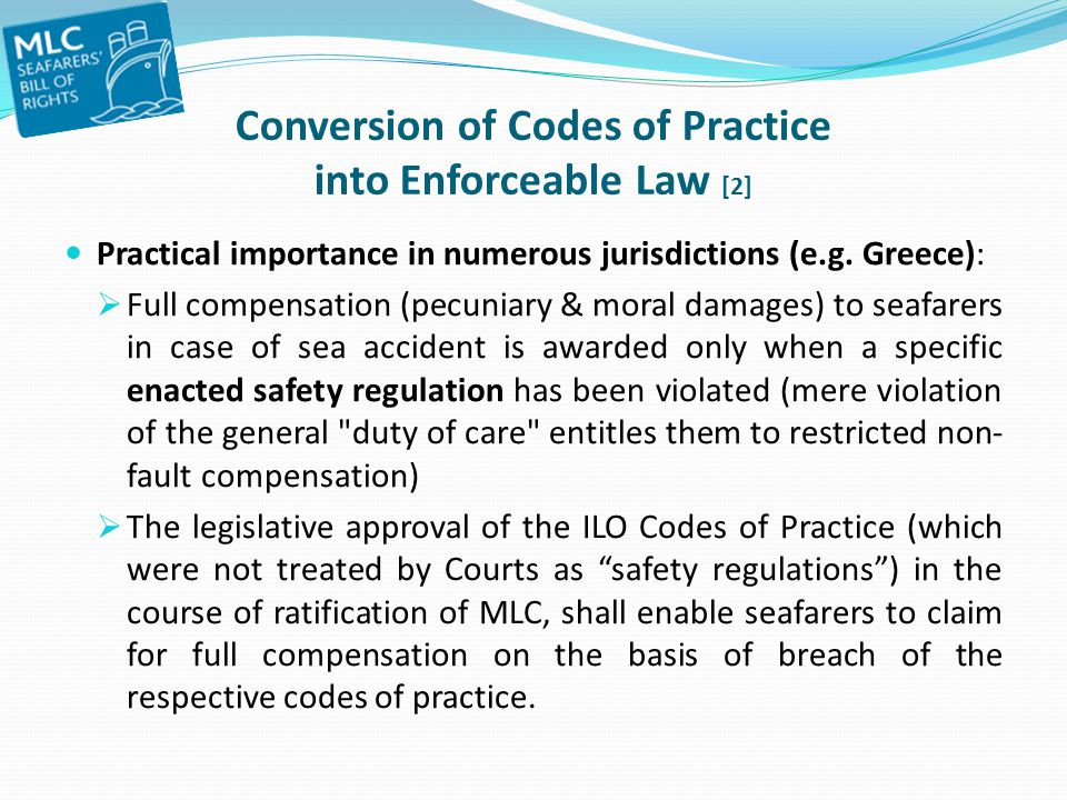 Conversion of Codes of Practice into Enforceable Law [2]